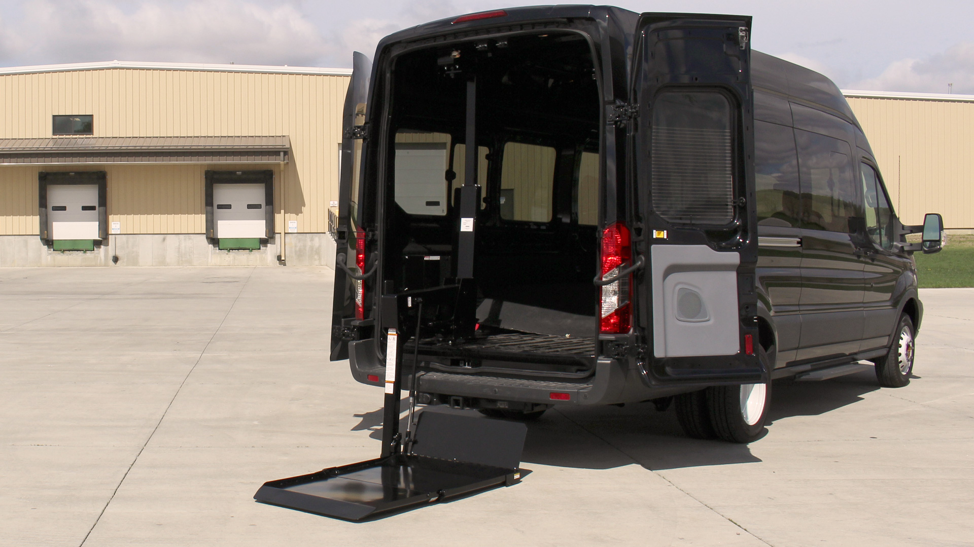650 series in down position on a ford transit