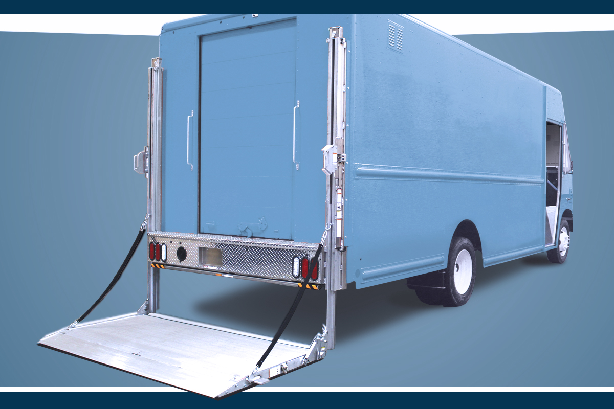 A Step Van with Tommy Gate RTC liftgate installed