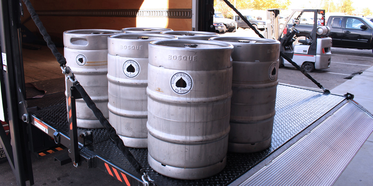 Bosque beer kegs on a Tommy Gate railgate platform